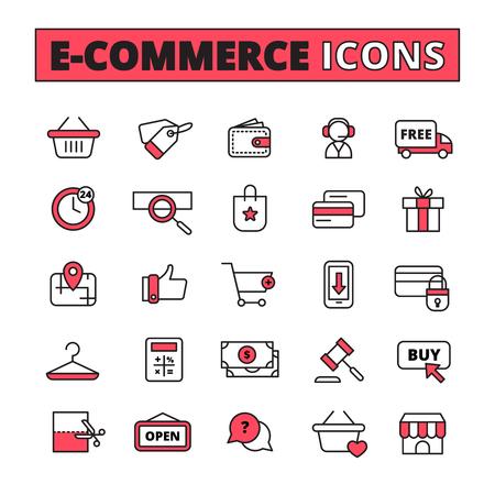 ecommerce icons: E-commerce line icons set with time purchase and money symbols flat isolated vector illustration Illustration