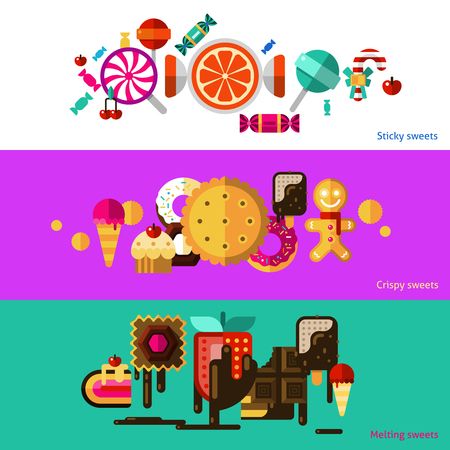 crispy: Sweets horizontal banners set with sticky crispy and melting sweets flat isolated vector illustration Illustration