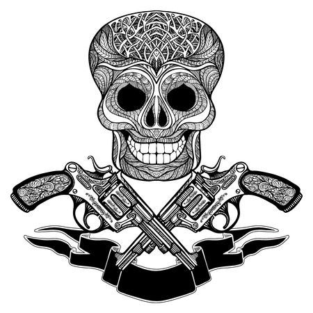 gunshot: Hand drawn  black  crossed guns with ornaments  ribbon and  skull on white  background   vector illustration