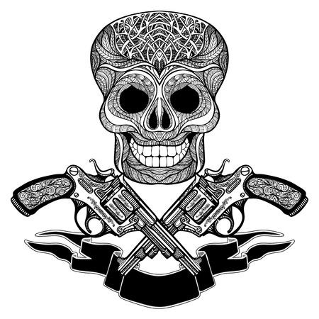 gunshot: Hand drawn  black  crossed guns with ornaments  ribbon and  skull on white  background   vector illustration