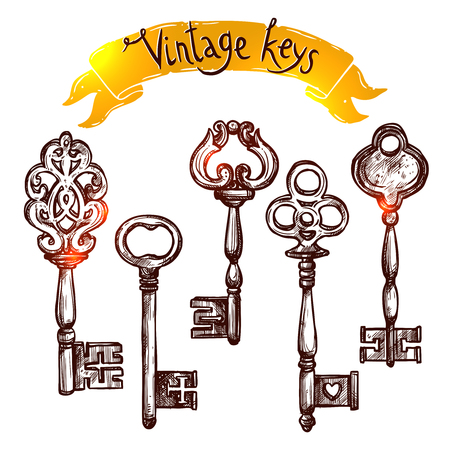 keys isolated: Vintage door keys sketch decorative icons set isolated vector illustration Illustration