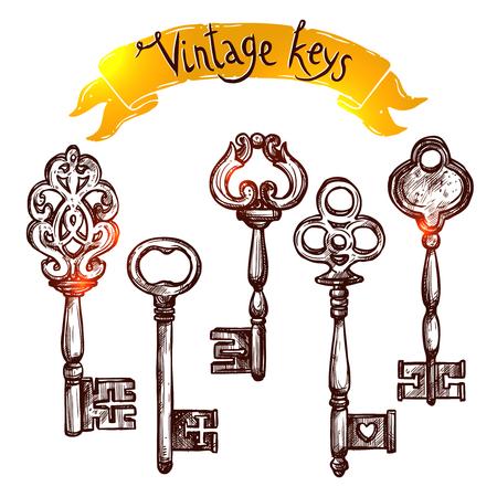 secret love: Vintage door keys sketch decorative icons set isolated vector illustration Illustration
