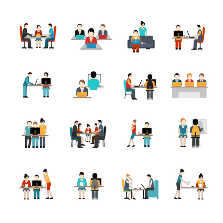 corporate people: Coworking space flat icons set with freelancer working place isolated vector illustration Illustration