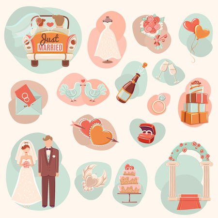 anillo de boda: Compromiso fiesta del día de la boda y la luna de miel concepto de amor romántico símbolos iconos conjunto abstracto aislado ilustración vectorial