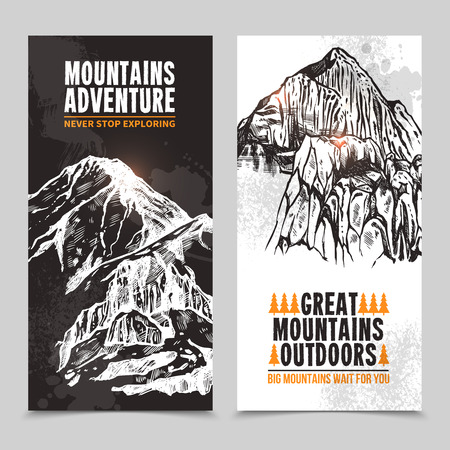 ice axe: Mountain vacation packages and tours adventure travel company vertical two-colored banners set graphic abstract isolated vector illustration