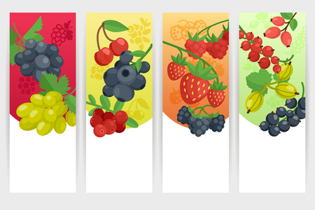 tagline: Berries with nature and fresh tagline color vertical banner set isolated vector illustration