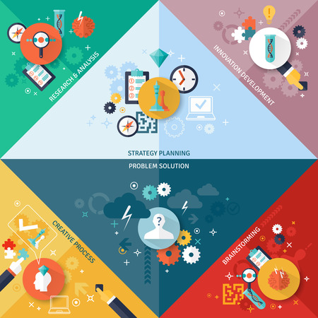 business strategy: Business strategy corner concept set with brainstorming planning research and development symbols flat isolated vector illustration Illustration