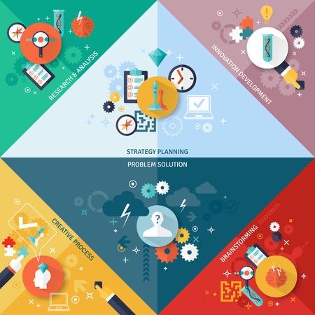 Stratégie d'entreprise coin concept définir avec les symboles de recherche et de développement de planification de remue-méninges plat isolé illustration vectorielle Vecteurs