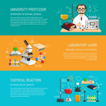 science: Science banner horizontal set with university professor and laboratory work realistic elements isolated vector illustration