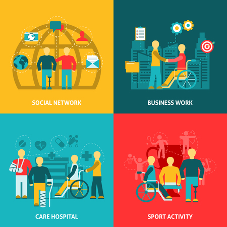 jobs people: Flat color icons composition with disabled working  in  business  network hospital  sport  vector illustration.