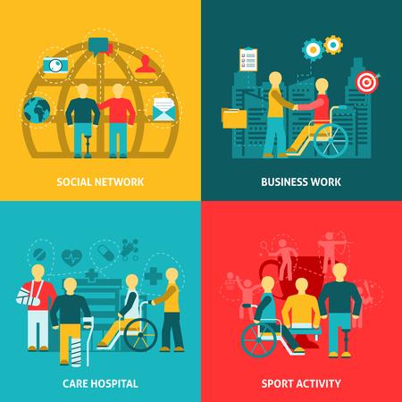 vida social: Piso composición de los iconos de color de trabajo con personas discapacitadas en la red de negocios ilustración vectorial deporte del hospital.