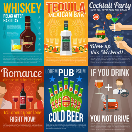 liquors: Alcohol drinks and cocktail mini poster set isolated vector illustration