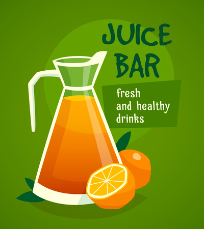 juice bar: Design concept with  pitcher of fresh juice and oranges for advertising  healthy drinks vector illustration