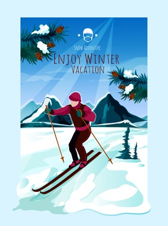snow landscape: Mountain landscape poster with man skiing and pine tree branches on background vector illustration