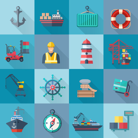 container port: Sea port flat icons set with anchor container ship lifebelt isolated vector illustration