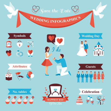 anillos boda: infografía boda fijados con novia y el novio símbolos ilustración vectorial