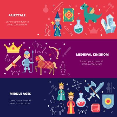 espadas medievales: Banner horizontal medieval conjunto con personajes de cuentos de hadas aislado ilustraci�n vectorial