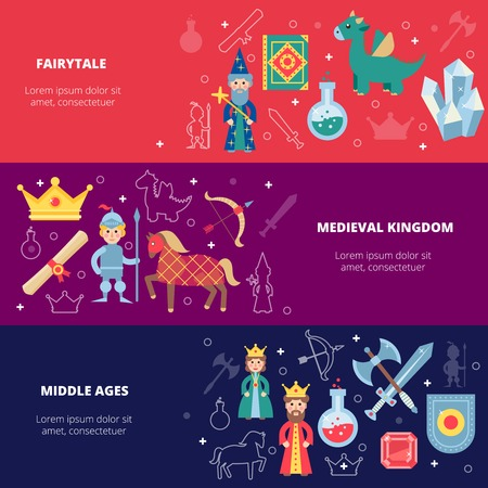 medieval king: Medieval horizontal banner set with fairytale personages isolated vector illustration Illustration