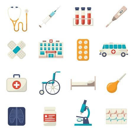 Medische pictogrammen platte set met geïsoleerde rolstoel bloedtest ziekenhuisbed vector illustratie