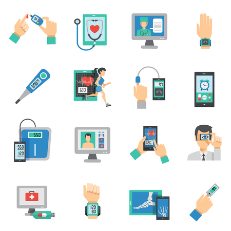 Digital health icons flat set with medical technologies symbols isolated vector illustration