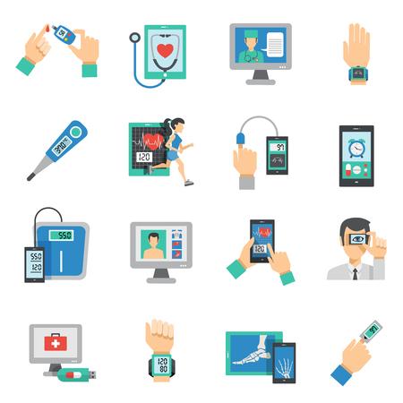 Digitale gezondheidszorg iconen flat set met geïsoleerde medische technologieën symbolen vector illustratie Stock Illustratie