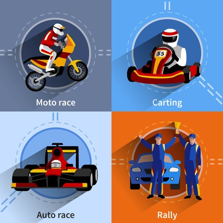 moto: Racer icons set with carting rally moto and auto race symbols flat isolated vector illustration Illustration