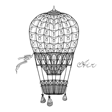 hands in the air: Retro style hand pencil drawn hot air balloon vector illustration
