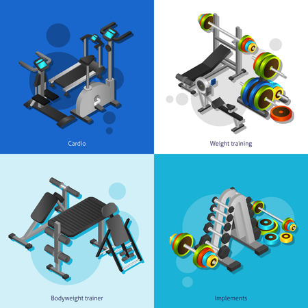 exercising: Small 2x2 posters set with cardio weight training bodyweight trainer and implements isometric realistic vector illustration