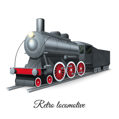Steam iron: Retro style steam train iron locomotive on railroad vector illustration