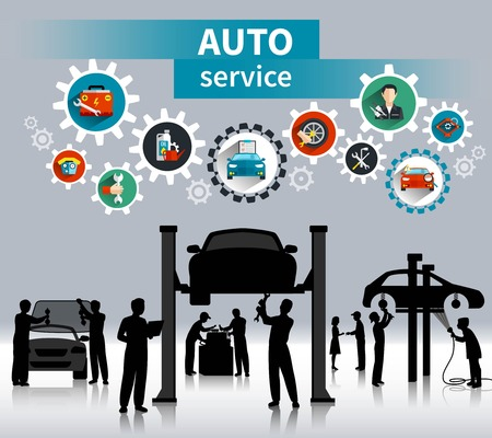 car tuning: Auto service concept background with spare parts and maintenance symbols flat shadow vector illustration Illustration