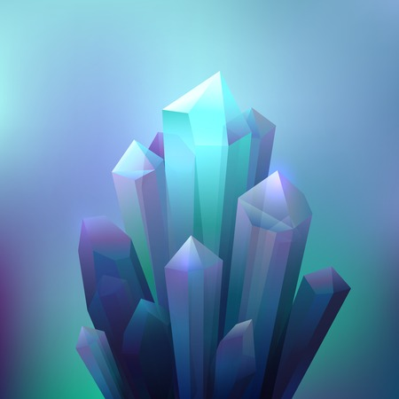 mineral stone: Crystal cave minerals with shining light reflection background vector illustration Illustration