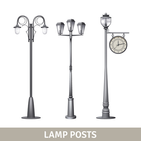 lamp: Lamp post old style electric street lights set isolated vector illustration Illustration