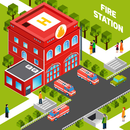 building fire: Design concept of  fire department building with  fire trucks and people on sidewalks isometric vector illustration Illustration