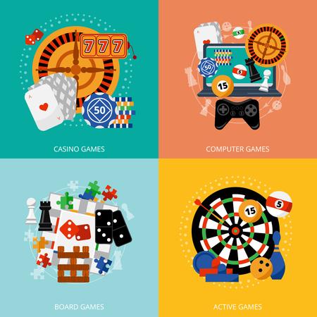 ruleta de casino: Juegos de juego más populares de cartel casino hospitalidad fortuna con 4 composición iconos plana abstracto aislado ilustración vectorial