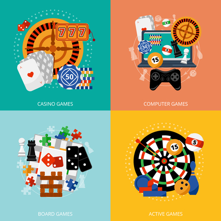 Popular gambling games of fortune entertainment casino poster with 4 flat icons composition abstract isolated vector illustration Çizim