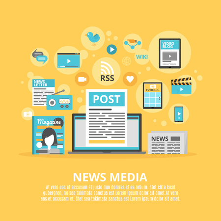 Social media computer tools to share and exchange information concept flat icons combination poster abstract vector illustration  イラスト・ベクター素材