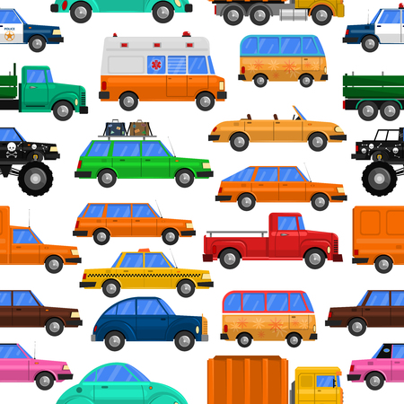 alumnos en clase: Cars seamless pattern with family cars vans and taxi flat isolated vector illustration