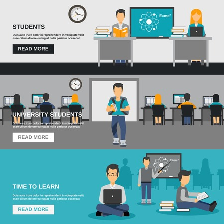 set going: University student horizontal banner set with young people flat avatars isolated vector illustration