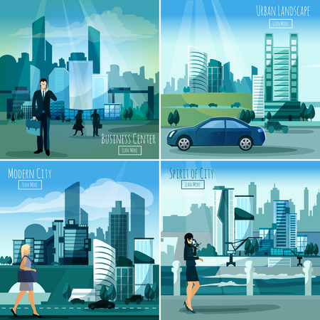 traffic light: Daylight modern city business center street view 4 flat icons square composition banner abstract isolated vector illustration