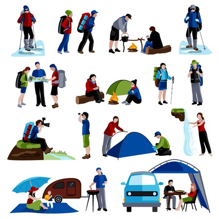 rucksacks: Camping and people icons set with tents rucksacks and map flat isolated vector illustration