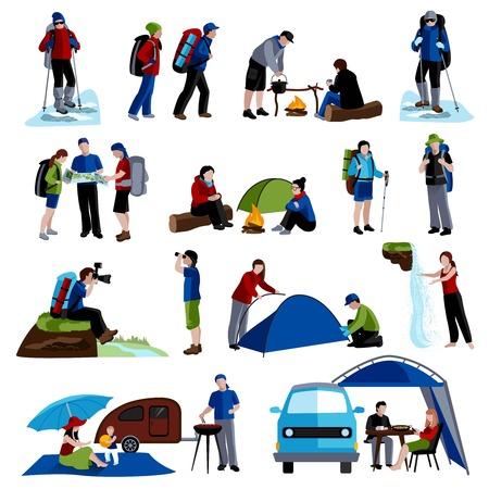 Camping en mensen pictogrammen set met tenten rugzakken en kaart flat geïsoleerd vector illustratie