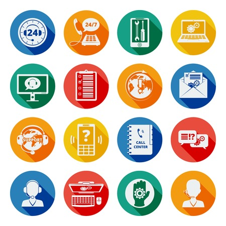 Support and customer service network icons flat set isolated vector illustration