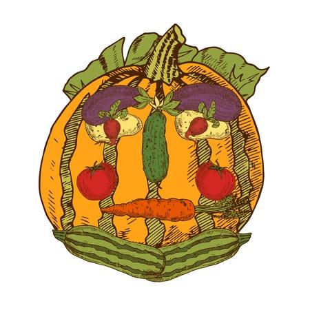 still: Hand drawn still life with garden vegetables in human face shape vector illustration