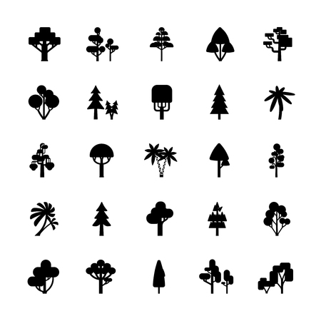 gum tree: Set of tree silhouettes isolated on white background include deciduous spruce palm bush flat vector illustration
