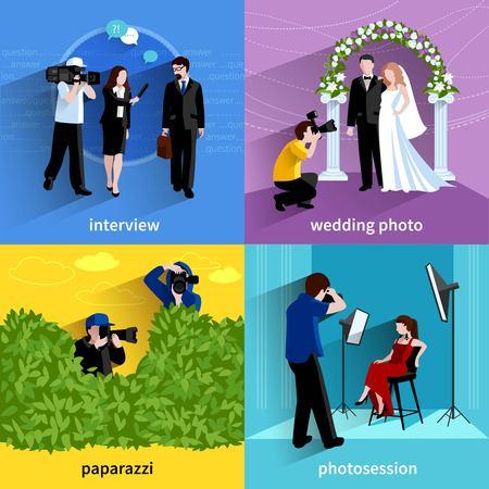 Photographer icons set with interview wedding photo paparazzi and photosession symbols flat isolated vector illustration