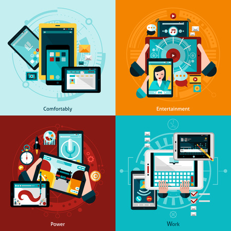 comfort: Phablet and tablet icons set with entertainment comfort and work symbols flat isolated vector illustration