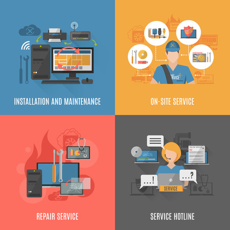 L'installation des ordinateurs maintenir et réparer le service en ligne 4 icônes plates composition carré abstrait bannière vecteur isolé illustration Banque d'images - 48259691