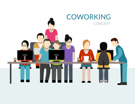 Coworking center concept with people working at the table flat vector illustration