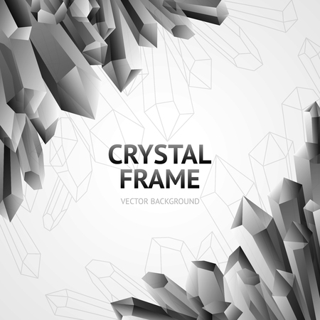 minerals: Monochrome water ice crystal polygonal shape minerals frame vector illustration
