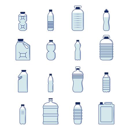 プラスチック製の瓶や容器の装飾アイコン シルエット設定分離ベクトル図